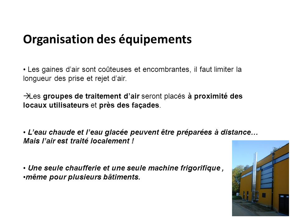 Organisation des équipements