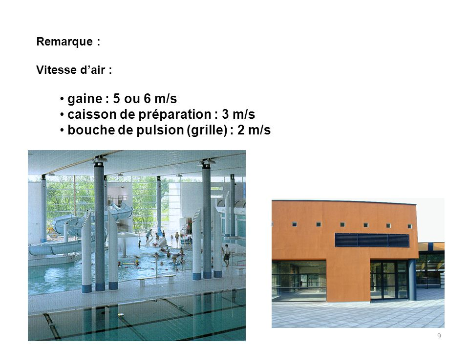 caisson de préparation : 3 m/s bouche de pulsion (grille) : 2 m/s