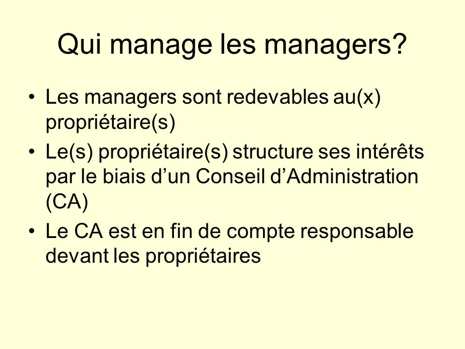 Qui manage les managers