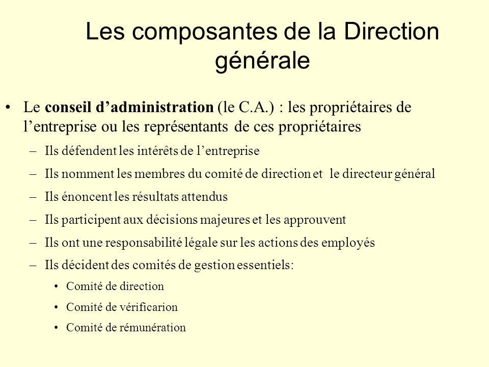 Les composantes de la Direction générale