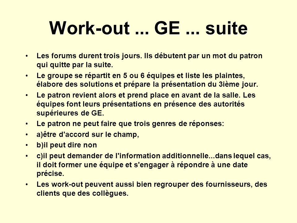 Work-out ... GE ... suite Les forums durent trois jours. Ils débutent par un mot du patron qui quitte par la suite.