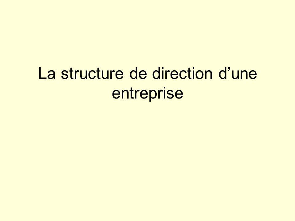 La structure de direction d'une entreprise