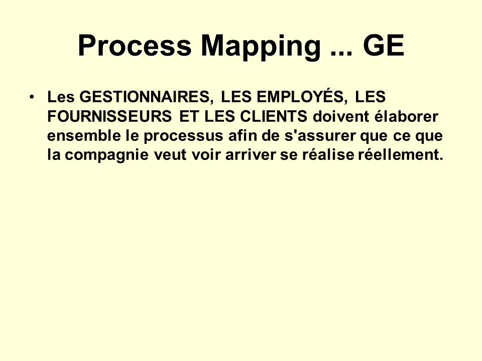 Process Mapping ... GE