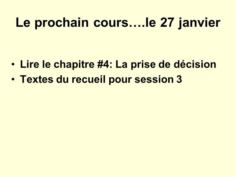 Le prochain cours….le 27 janvier