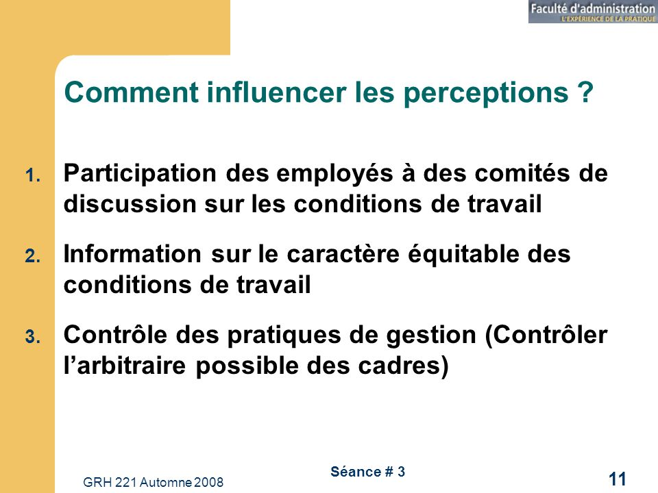 Comment influencer les perceptions