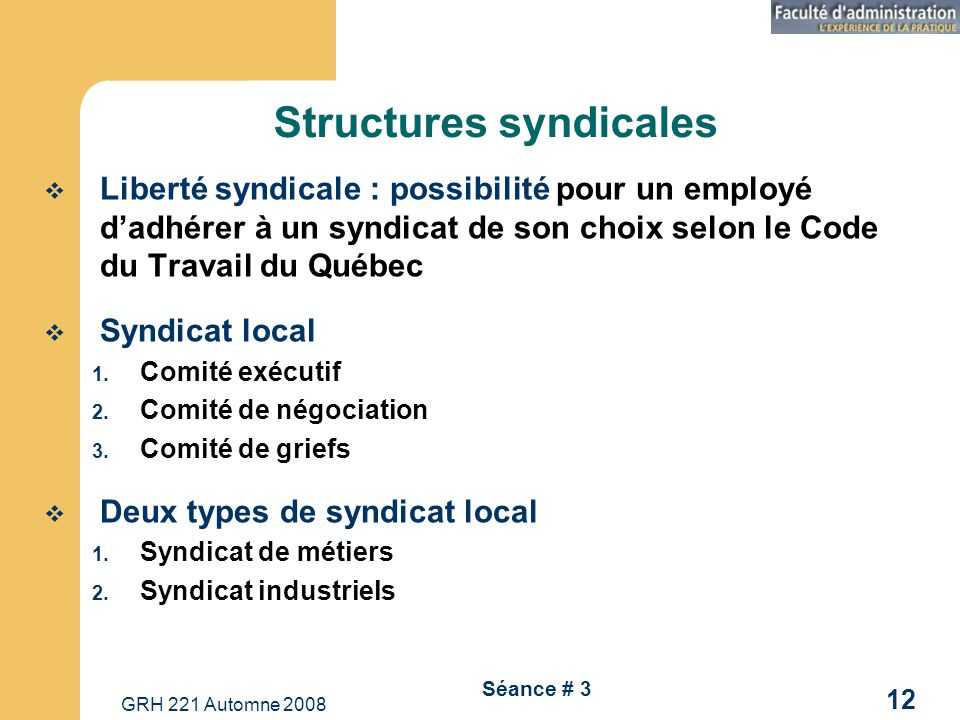 Structures syndicales