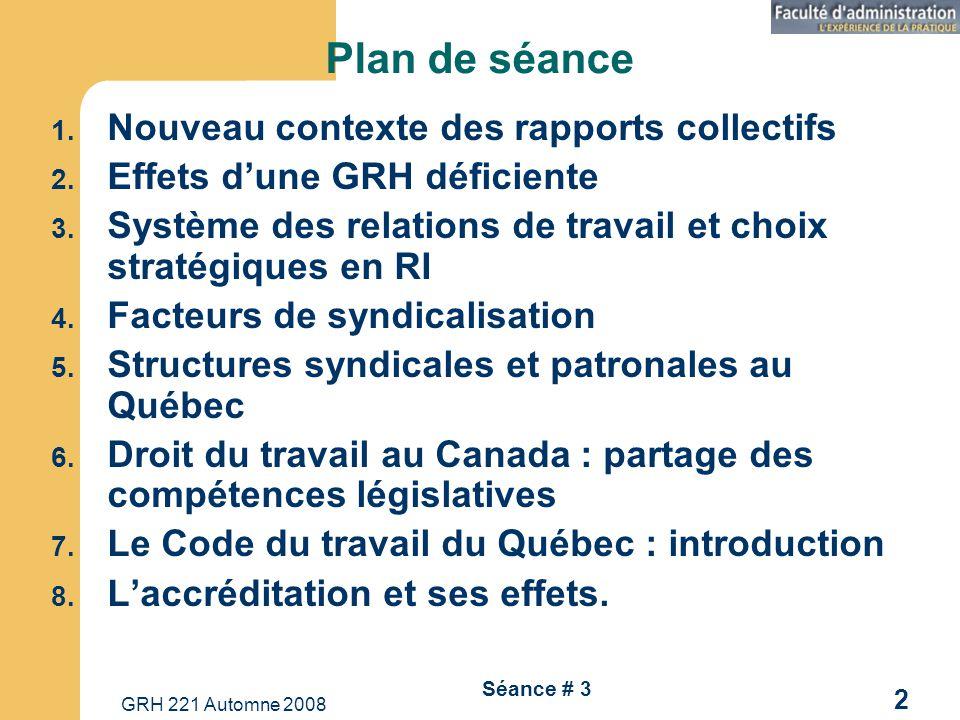 Plan de séance Nouveau contexte des rapports collectifs