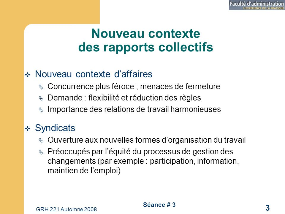 Nouveau contexte des rapports collectifs