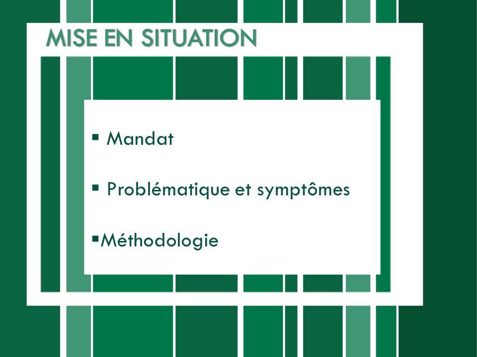 MISE EN SITUATION Mandat Problématique et symptômes Méthodologie