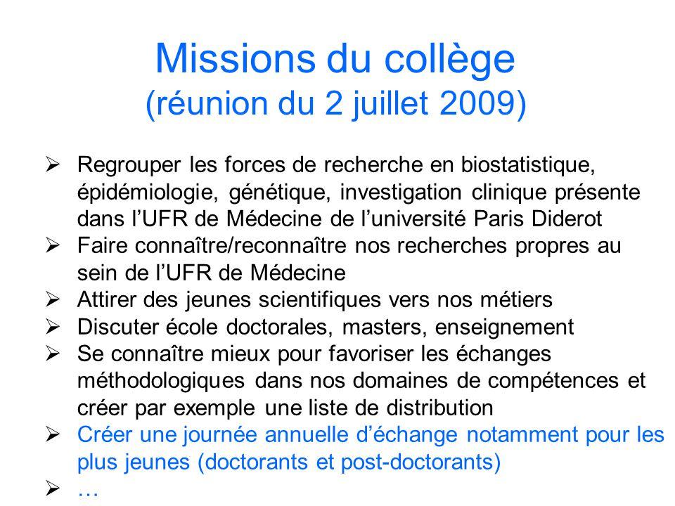 Missions du collège (réunion du 2 juillet 2009)