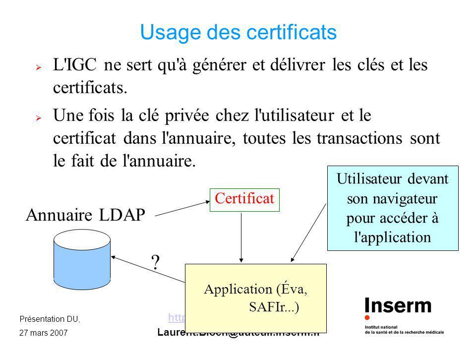 Usage des certificats L IGC ne sert qu à générer et délivrer les clés et les certificats.