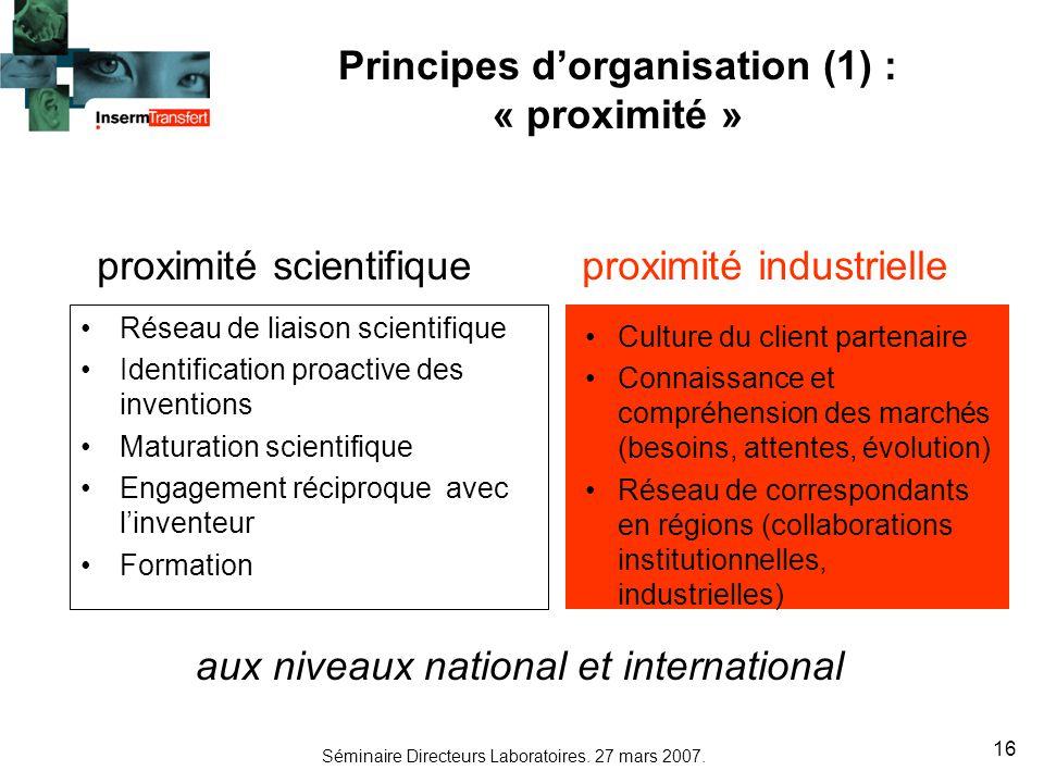 Principes d'organisation (1) : « proximité »