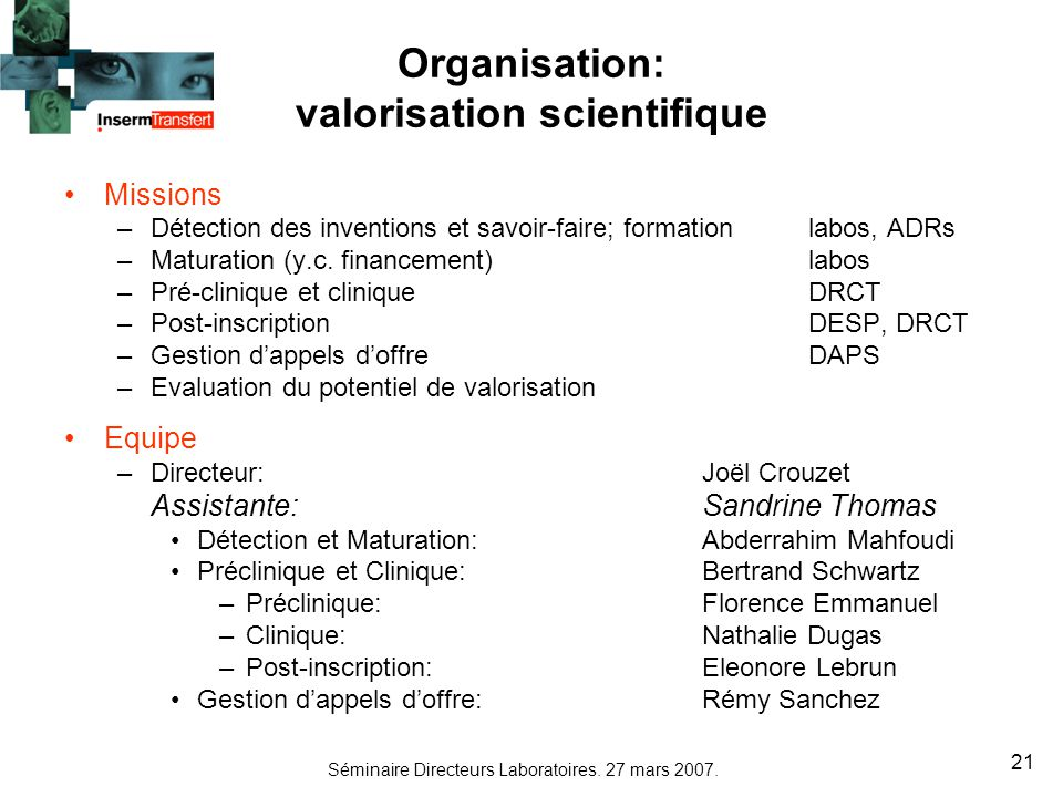 Organisation: valorisation scientifique
