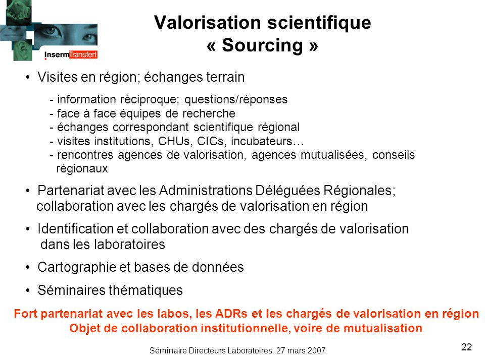 Valorisation scientifique « Sourcing »