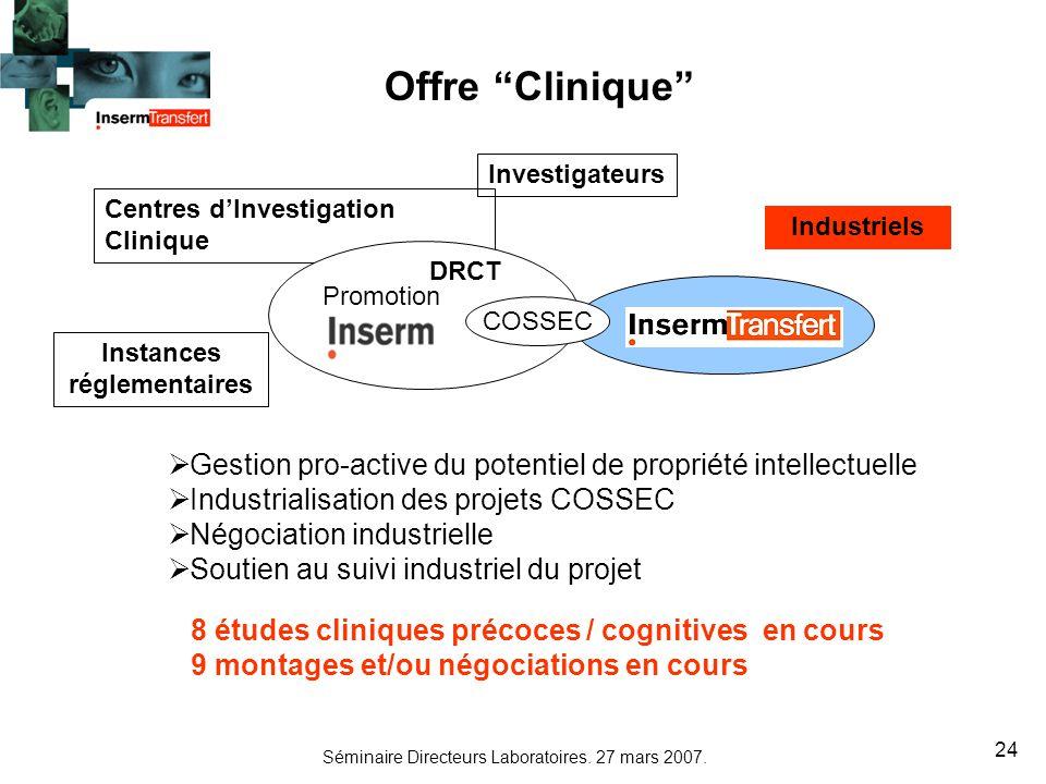 Offre Clinique Investigateurs. Centres d'Investigation Clinique. Industriels. DRCT. Promotion.