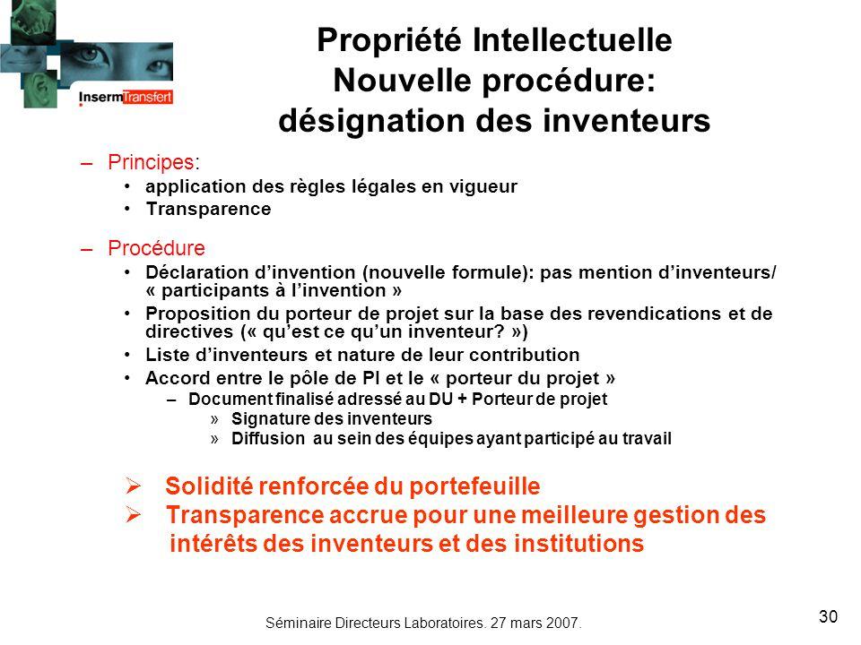 Propriété Intellectuelle désignation des inventeurs