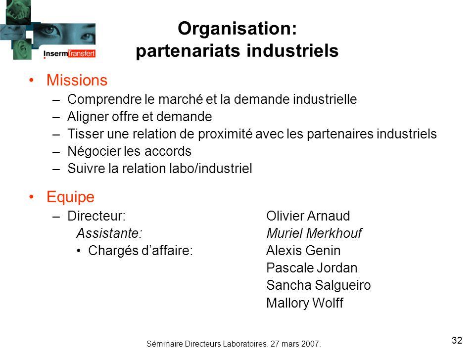 Organisation: partenariats industriels