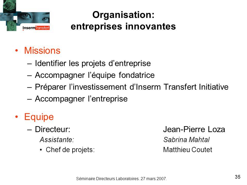 Organisation: entreprises innovantes