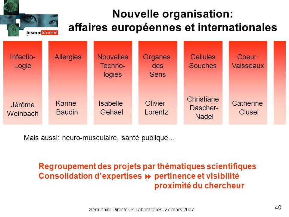 Nouvelle organisation: affaires européennes et internationales