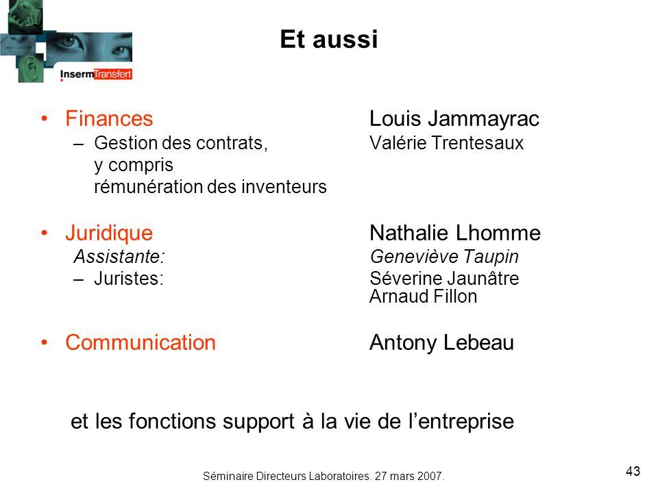 Et aussi Finances Louis Jammayrac Juridique Nathalie Lhomme