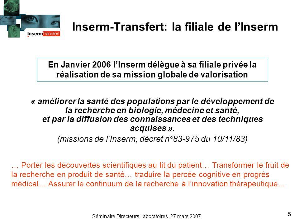 Inserm-Transfert: la filiale de l'Inserm
