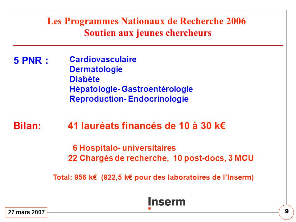 RESEAUX de RECHERCHE CLINIQUE et en SANTE des POPULATIONS