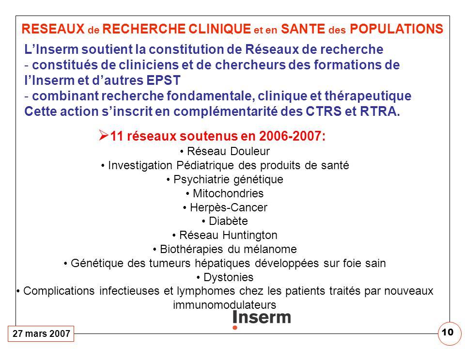 CELLULE Inserm-ANR. 2007 Gestion de 3 Programmes Thématiques :