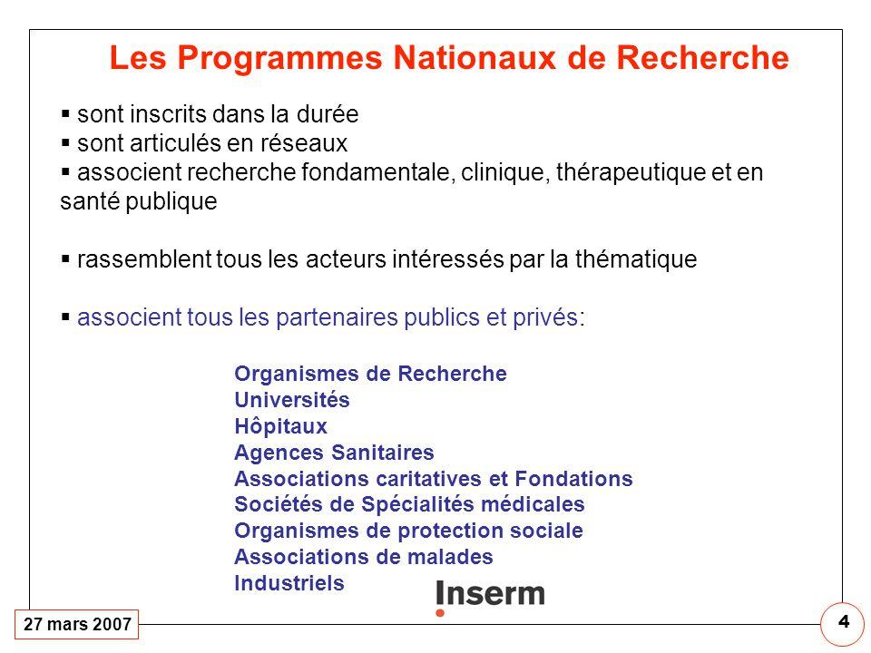 Les Programmes Nationaux de Recherche