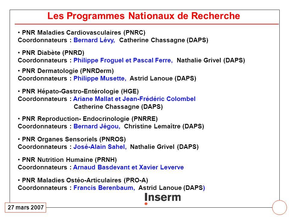 Programmes Nationaux de Recherche: 2007