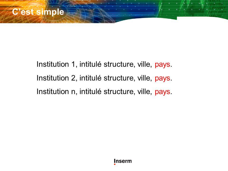 C'est simple Institution 1, intitulé structure, ville, pays.
