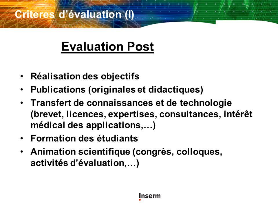 Criteres d'évaluation (I)