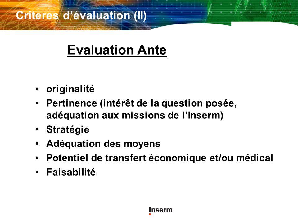 Criteres d'évaluation (II)