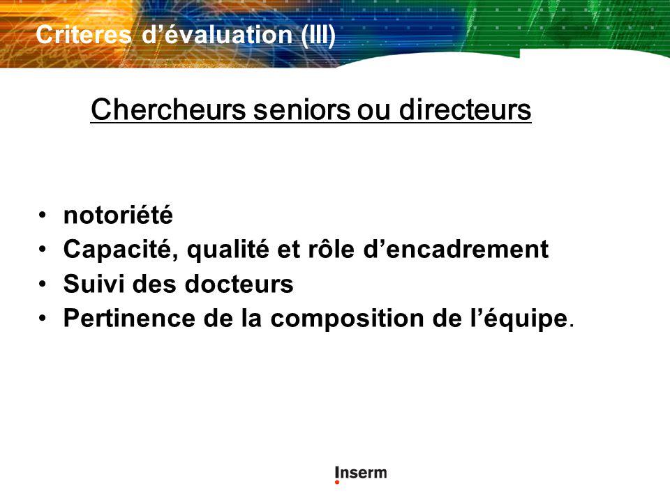 Criteres d'évaluation (III)