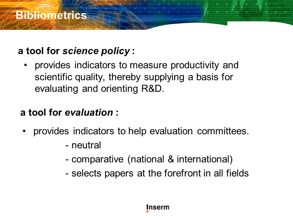Bibliometrics a tool for science policy :
