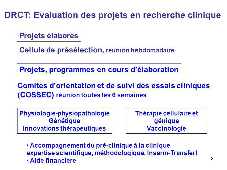 DRCT: Evaluation des projets en recherche clinique