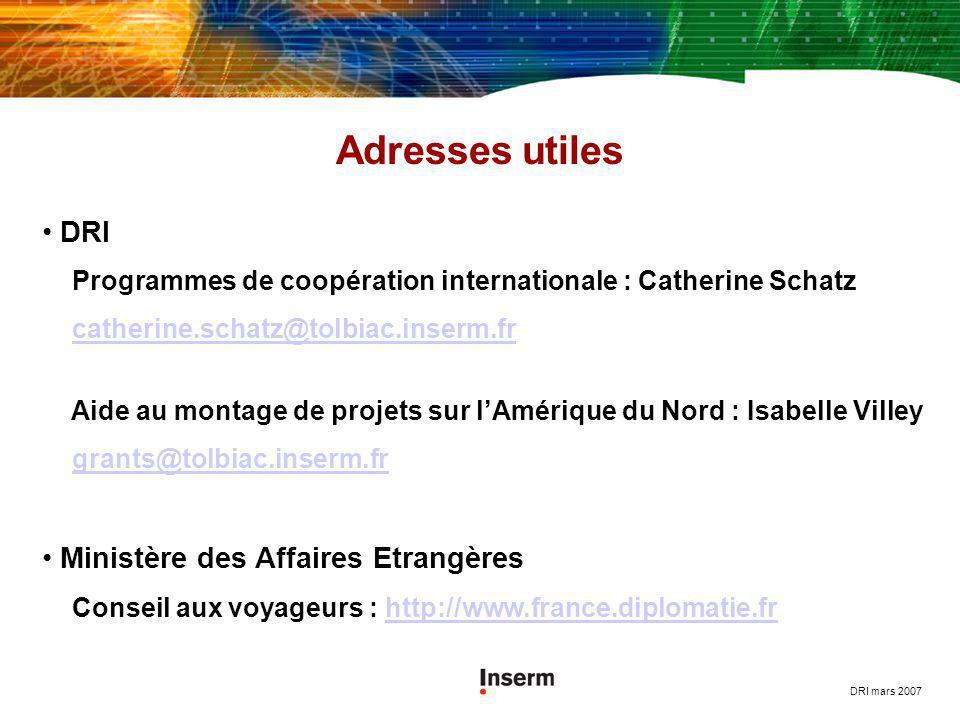 Adresses utiles DRI Ministère des Affaires Etrangères