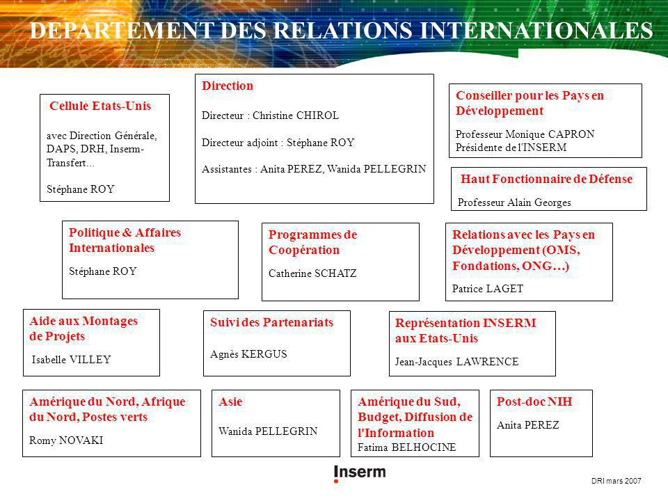 DEPARTEMENT DES RELATIONS INTERNATIONALES