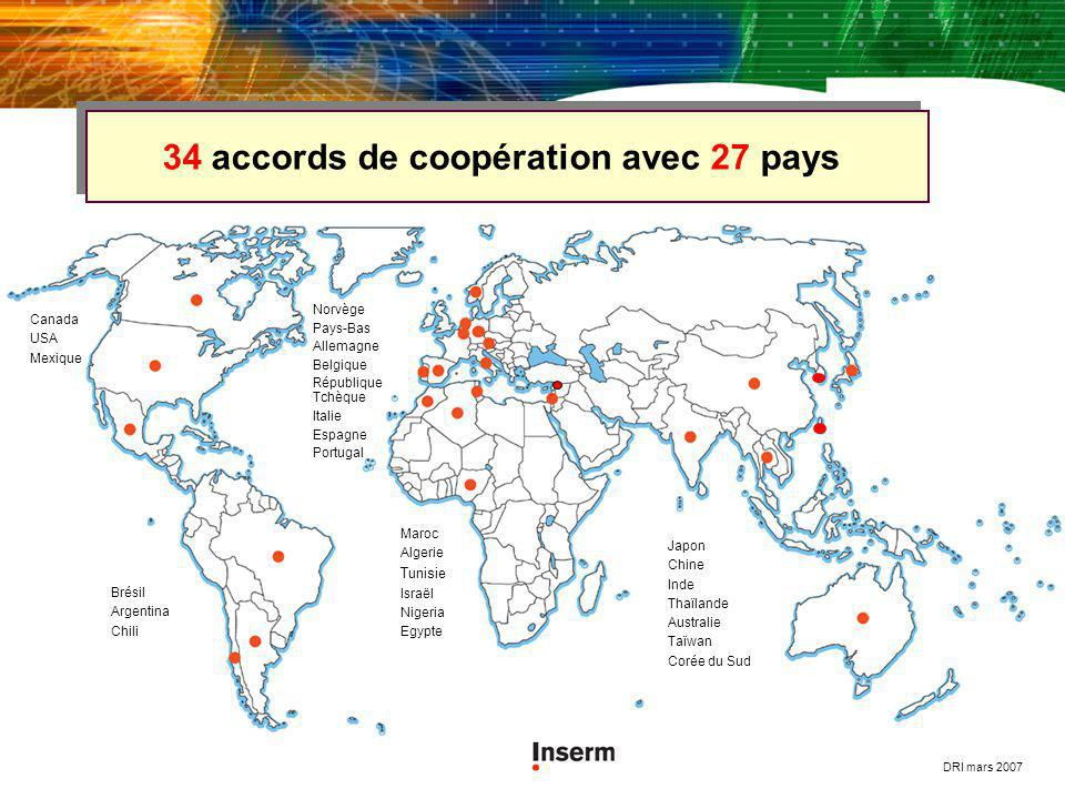 34 accords de coopération avec 27 pays