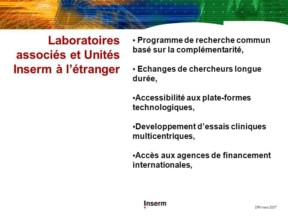 Laboratoires associés et Unités Inserm à l'étranger
