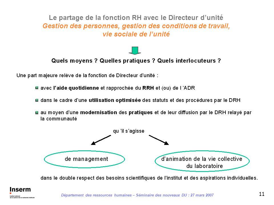 Le partage de la fonction RH avec le Directeur d'unité