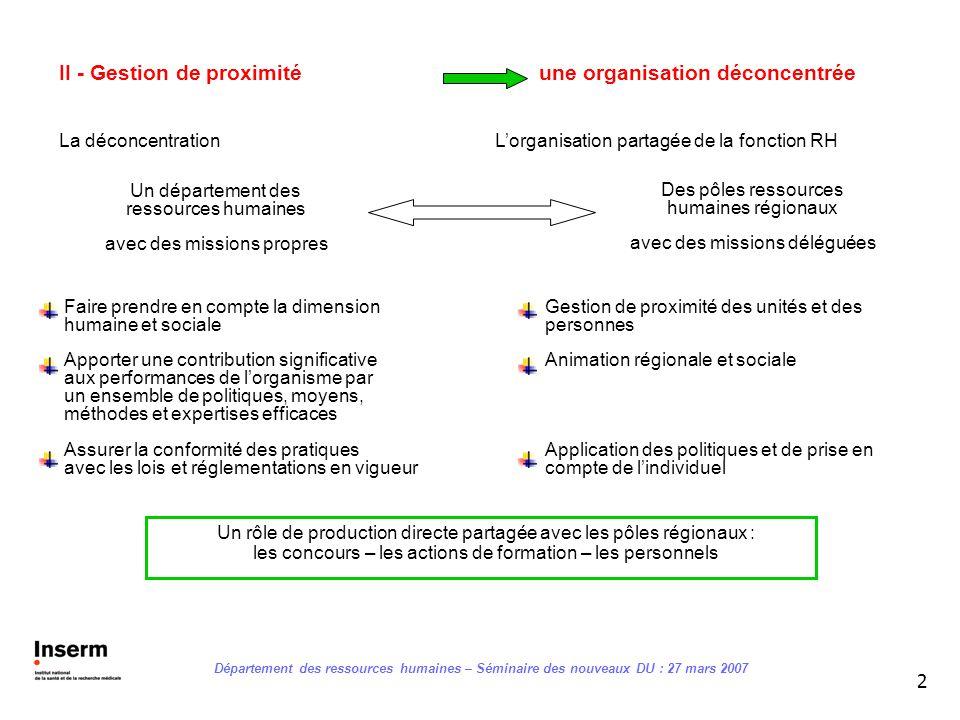 II - Gestion de proximité une organisation déconcentrée
