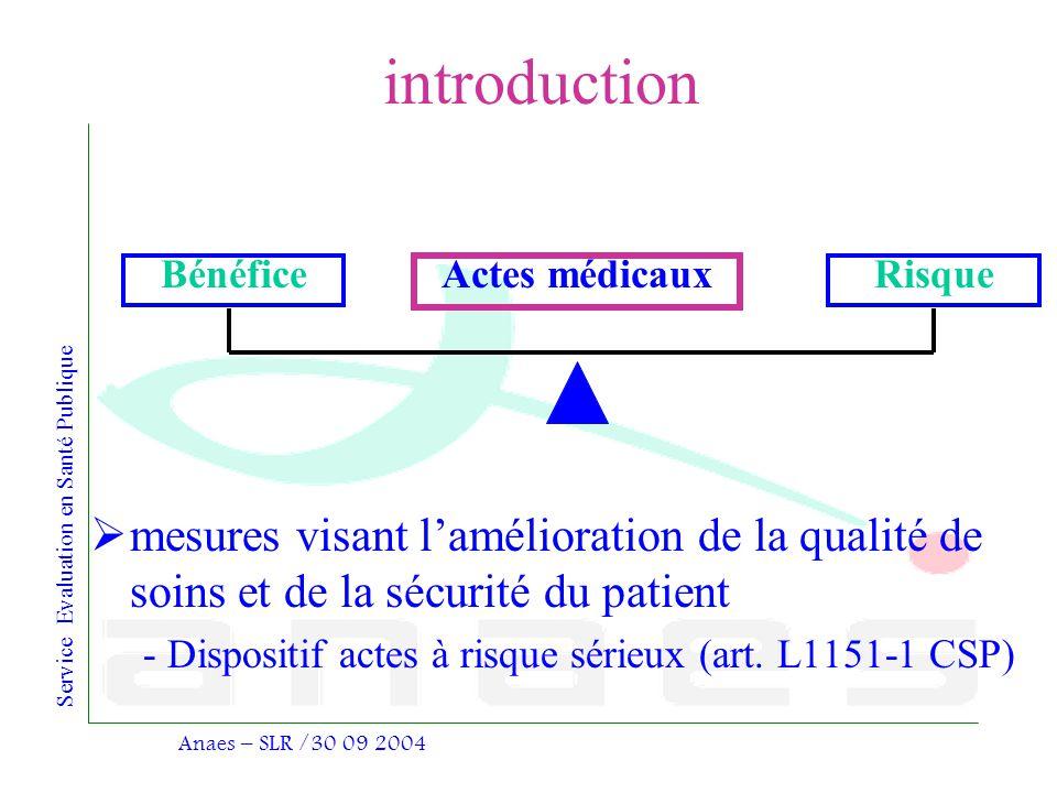 introduction mesures visant l'amélioration de la qualité de soins et de la sécurité du patient.