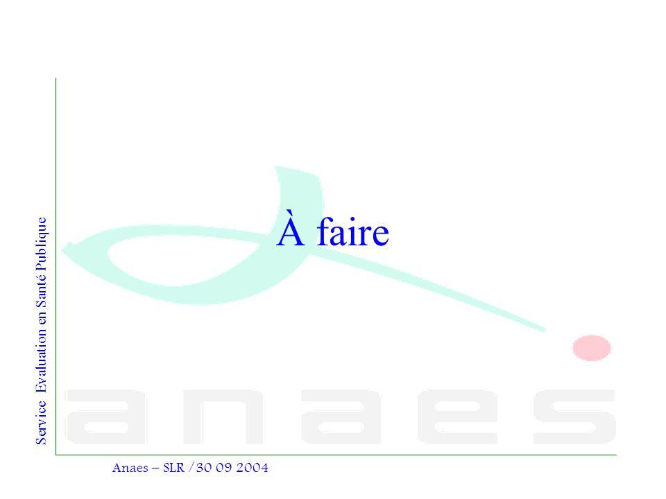 À faire Anaes – SLR /30 09 2004