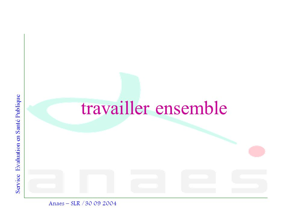 travailler ensemble Anaes – SLR /30 09 2004