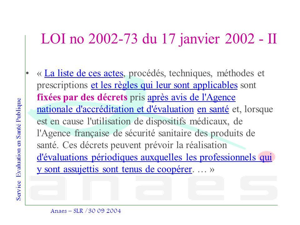 LOI no 2002-73 du 17 janvier 2002 - II