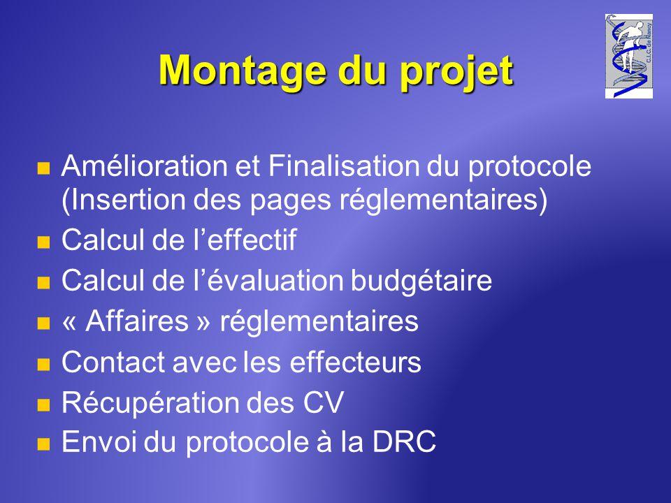 Montage du projet Amélioration et Finalisation du protocole (Insertion des pages réglementaires) Calcul de l'effectif.