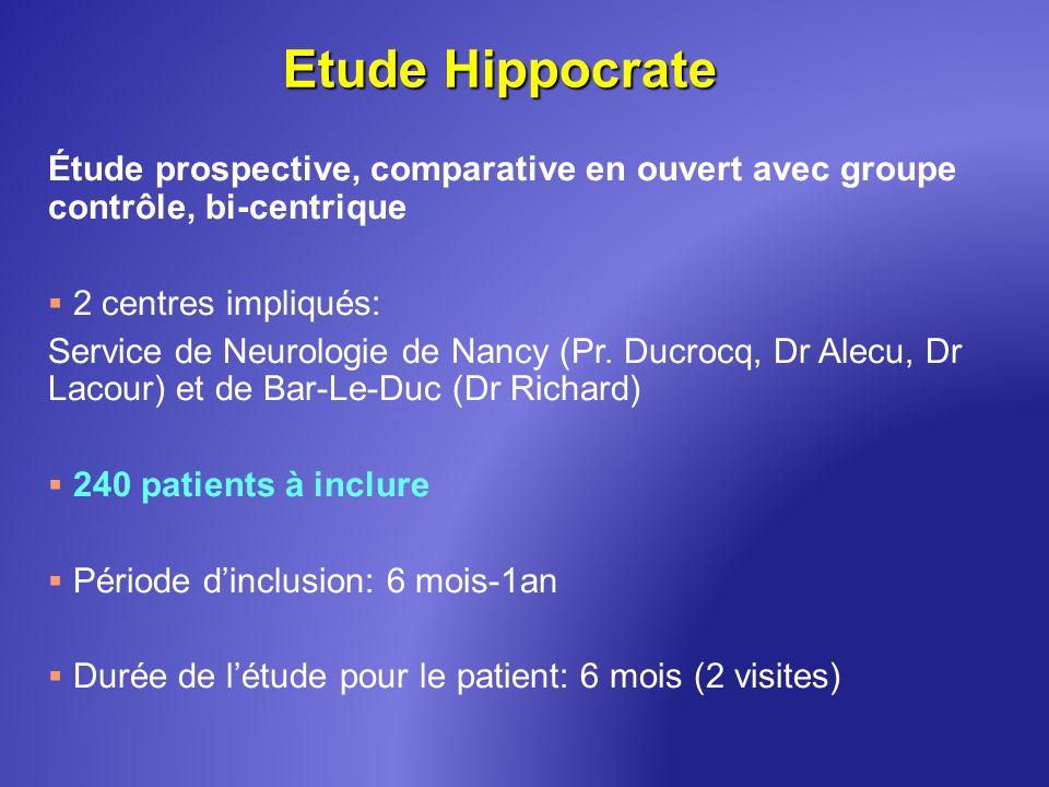 Etude Hippocrate Étude prospective, comparative en ouvert avec groupe contrôle, bi-centrique. 2 centres impliqués: