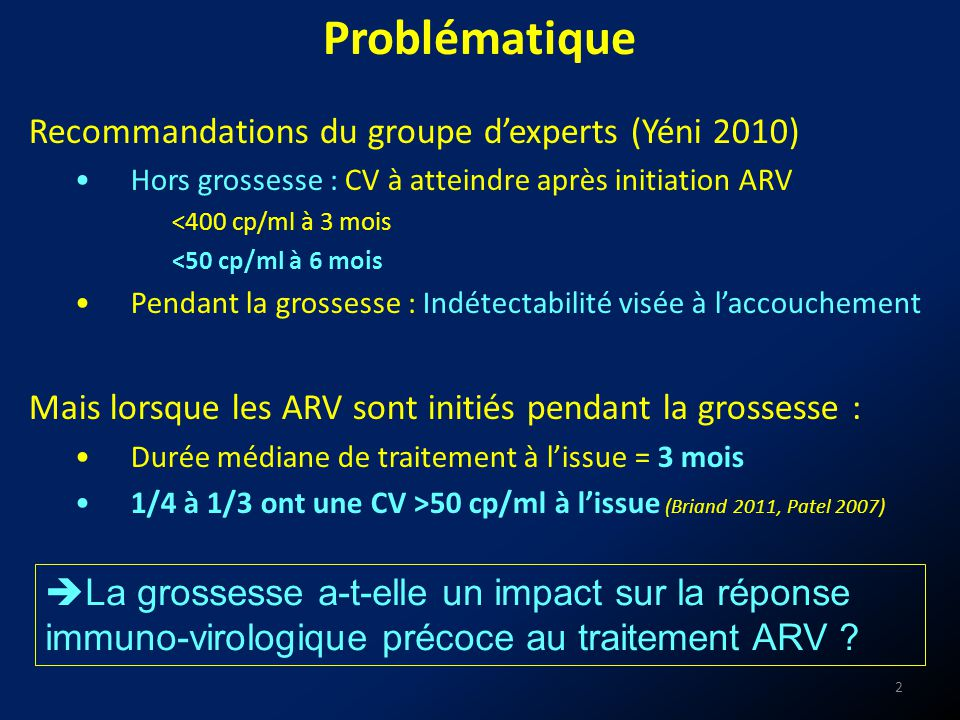 Problématique Recommandations du groupe d'experts (Yéni 2010)