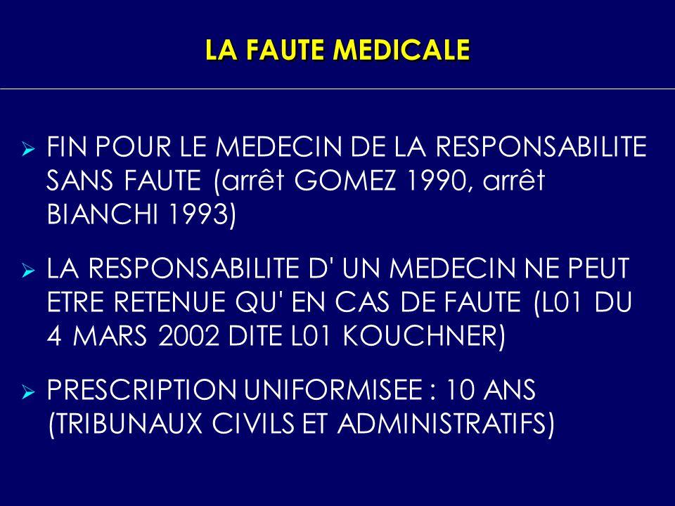 LA FAUTE MEDICALE FIN POUR LE MEDECIN DE LA RESPONSABILITE SANS FAUTE (arrêt GOMEZ 1990, arrêt BIANCHI 1993)