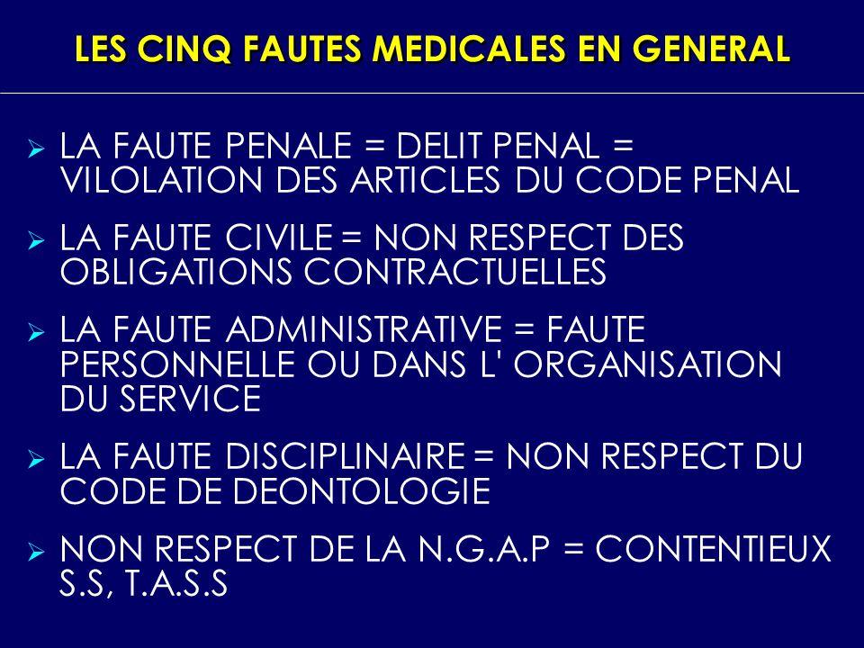 LES CINQ FAUTES MEDICALES EN GENERAL